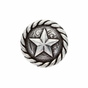"""BS9156  SRTP 3/4"""" Antique Silver Plated Round Rope Edge Star Concho"""