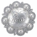"""BS9162F-2 SP Shiny Silver Flat back 1-1/4"""" Concho"""