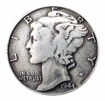 BS9179 SRTP 3/4'' Antique Silver Mercury Dime Concho