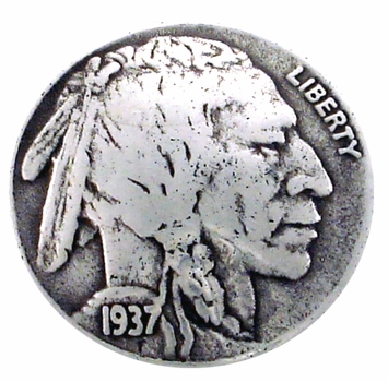 "BS9181-A SRTP 7/8""  Buffalo Nickel Indian Head Coin Concho"