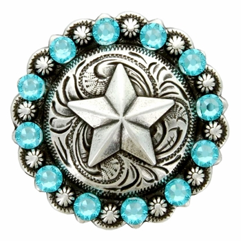 Swarovski Rhinestone Crystal Star Berry Concho - Light Turquoise