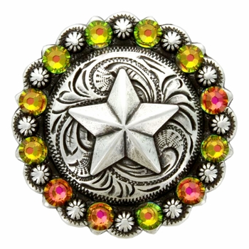 Swarovski Rhinestone Crystal Star Berry Concho - Vitrail Medium
