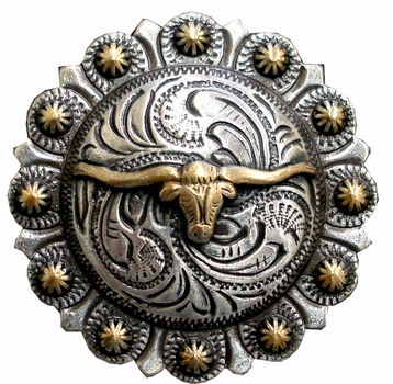 "BS9265-3 SRTPGP 1-1/2"" Longhorn Steer Berry Bulls Head  Concho"