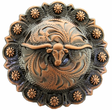"BS9265-4 Copper 1-3/4"" Longhorn Berry Concho"
