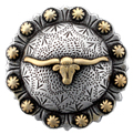 "BS9275-3 SRTPGP 1-1/2"" Longhorn Steer Berry Bulls Head Concho"