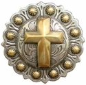 "BS9279-3 SRTPGP 1 3/4"" Berry Gold Christian Cross Concho"