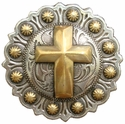 "BS9279-4 SRTPGP  1"" Berry Gold Cross Concho"