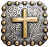 "BS9284-1 SRTPGP 1"" Gold Cross Square Concho"