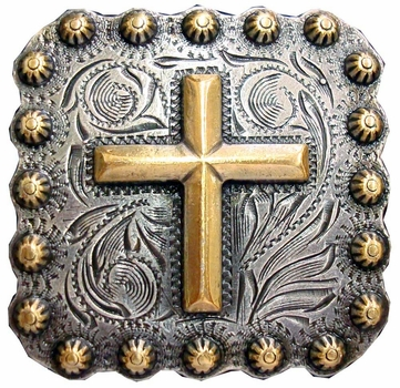 "BS9284-2 SRTPGP 1-3/8"" Gold Cross Square Concho"