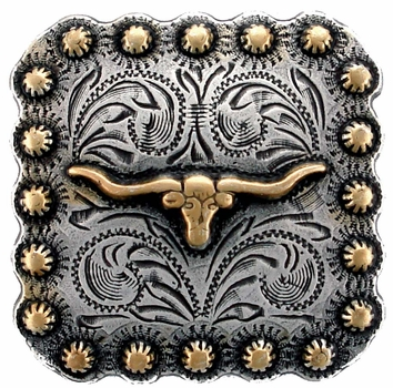 "BS9285 SRTPGP 2-1/4"" Gold Longhorn Steer/berry Concho"