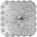 "BS9291 SP 2-1/4"" Shiny Silver Berry Square Concho"