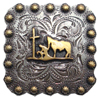 "BS9295-1 SRTPGP 1"" Gold Praying Cowboy Square Concho"