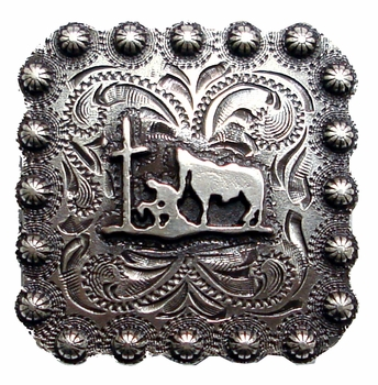 "BS9295-2 SRTP  1 3/8"" Praying Cowboy  Square Concho"