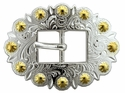 BS9307 SPGP Bright Silver & Gold Berry Cart Centerbar Buckle 3/4""