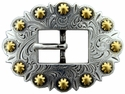 BS9307 SRTPGP Antique Silver & Gold Berry Cart Centerbar Buckle 3/4""