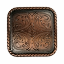 "BS9312-4 Copper 1 1/2"" Square Rope Edge Concho"