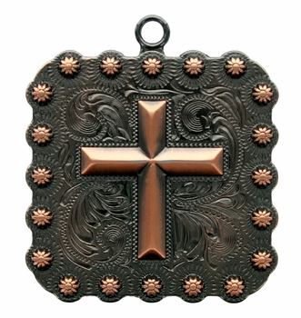 "BS9313-2 Copper  1 3/8"" Cross Square Berry Pendant"