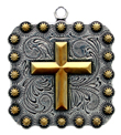"BS9313-2 SRTPGP 1 3/8"" Cross Square Berry Pendant"