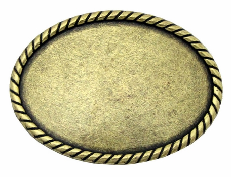 C175 Brass Plain Oval Belt Buckle