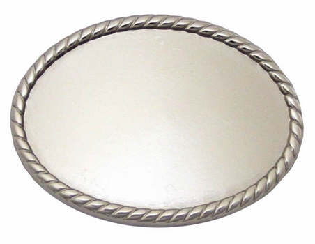 C175 NP Shiny Silver Plain Oval Belt Buckle