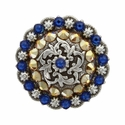 Coloma Antique Silver Swarovski Rhinestone Crystal Berry Concho - Capri Blue and Crystal Aurum