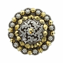 Coloma Antique Silver Swarovski Rhinestone Crystal Berry Concho - Crystal Aurum