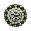 Coloma Antique Silver Swarovski Rhinestone Crystal Berry Concho - Graphite and Chrysolite Opal