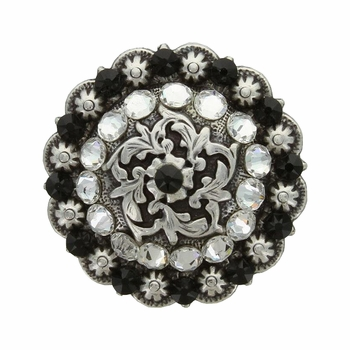 Coloma Antique Silver Swarovski Rhinestone Crystal Berry Concho - Jet and Crystal Clear