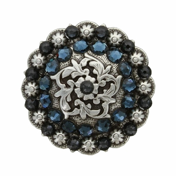 Coloma Antique Silver Swarovski Rhinestone Crystal Berry Concho - Montana and Graphite