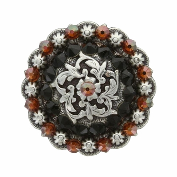Coloma Antique Silver Swarovski Rhinestone Crystal Berry Concho - Topaz and Jet
