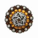 Coloma Antique Silver Swarovski Rhinestone Crystal Berry Concho - Topaz and Smoked Topaz
