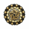 Coloma Gold Swarovski Rhinestone Crystal Berry Concho - Crystal Aurum & Jet