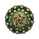 Coloma Gold Swarovski Rhinestone Crystal Berry Concho - Fern Green & Graphite