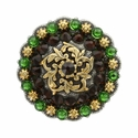 Coloma Gold Swarovski Rhinestone Crystal Berry Concho - Fern Green & Smoked Topaz