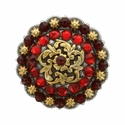 Coloma Gold Swarovski Rhinestone Crystal Berry Concho - Siam/Light Siam