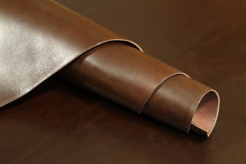 Cowhide Hand Burnished Oil Tanned Brown Finished Leather 8-9oz