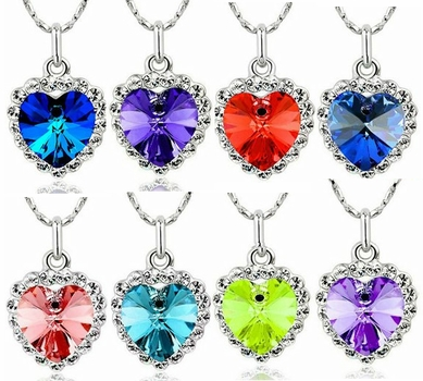 Crystal Love Heart and Rhinestone Necklace *Multi-Color*