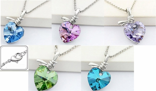Crystal Love Heart Knot Necklace *Multi-Color*