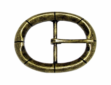 CX-09 Oval Antique Brass Center Bar Belt Buckle