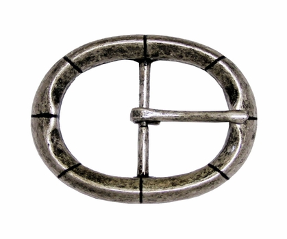 CX-09 Oval Antique Silver Center Bar Belt Buckle