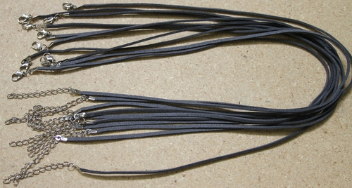 Dark Gray Suede Leather Necklace Cords