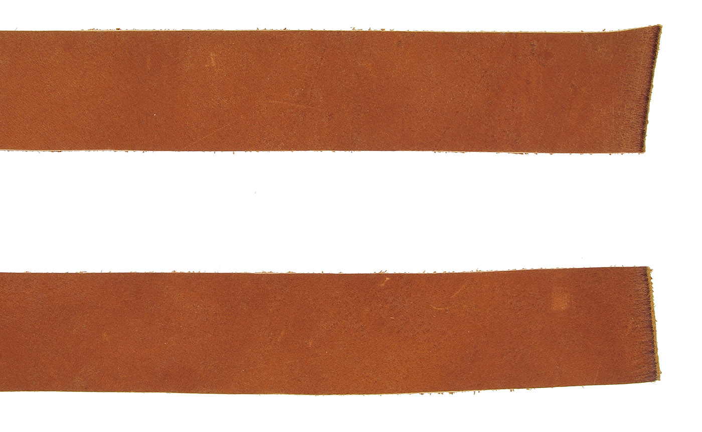 Double Bends Full Grain Thick Leather Strips Tan
