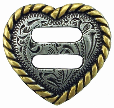 "F9524A-10 ASAG 1-1/2"" Heart Rope Edge Swirl Slotted Concho"