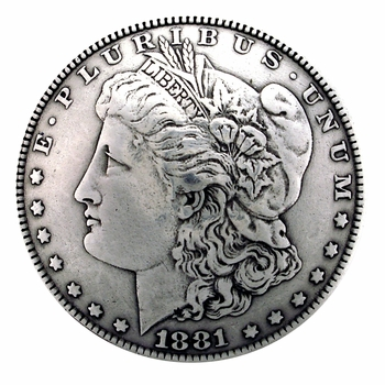 F9711-A SRTP 1 1/2'' MORGAN SILVER DOLLAR COIN CONCHO REPRODUCTION