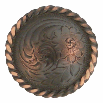 "F9819-2 SCVRB 3/4"" Copper Finish Round Rope Edge Western Engraved Concho"