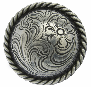 """F9819-2 SRTP 3/4"""" Antique Silver Plate Round Rope Edge Western Engraved Concho"""