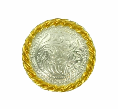 """F9819-3 SP/GP 1"""" Bright Silver Gold Plate Round Rope Edge Western Engraved Concho"""