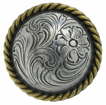 """F9819-4  SRTPGP 1 1/4""""  Ant. Silver + Ant. Gold  Plate Round Rope Edge Western Engraved Concho"""