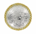 """F9819-5 SPGP 1 1/2"""" Shiny Silver + Gold Plate Round Rope Edge Western Engraved Concho"""
