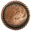 "F9819-6 Copper 2 3/8"" Round Rope Edge Western Engraved Concho"